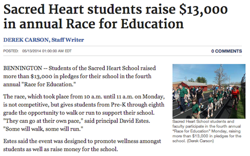 Sacred Heart students raise $13,000 in annual Race for Education - Bennington Banner