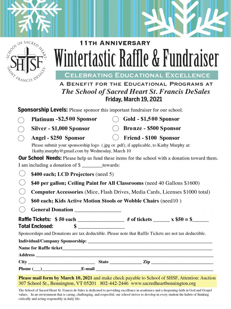 Wintertastic Raffle 2021 Sponsorships Form