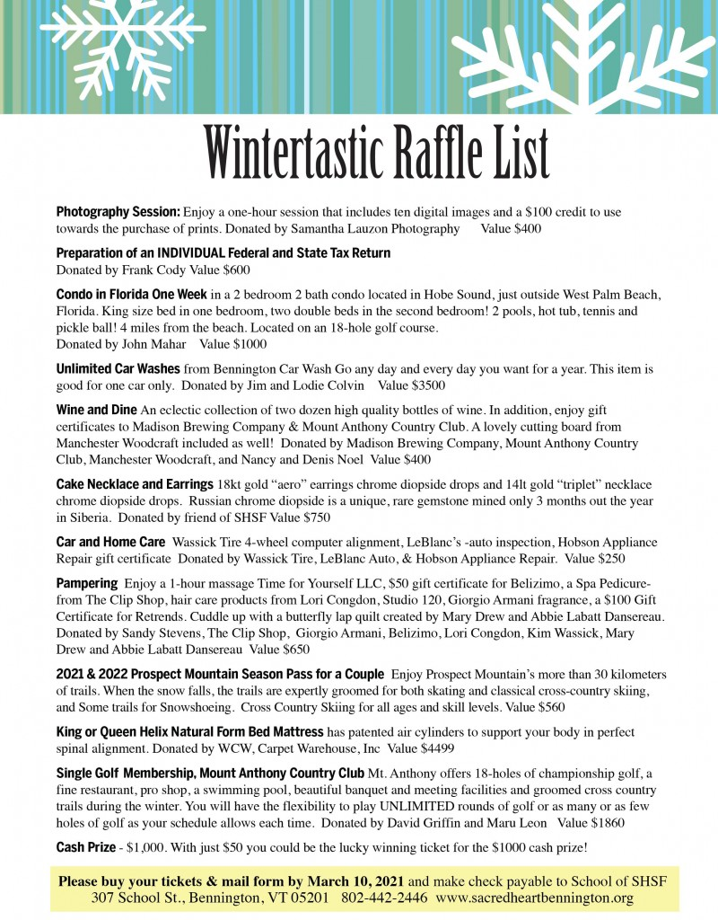 Wintertastic Raffle 2021 List Revised